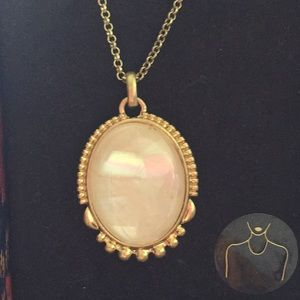 NIB Lucky Brand White Stone/ Goldtone Necklace